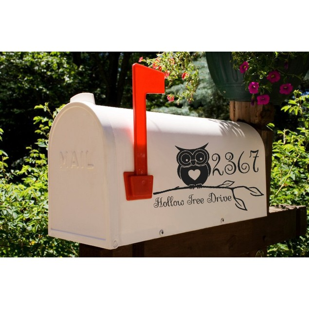 Owl on a Branch Vinyl Mailbox Decal