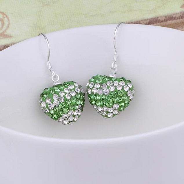 Austrian Stone Pave Heart Drop Earrings - Light Green
