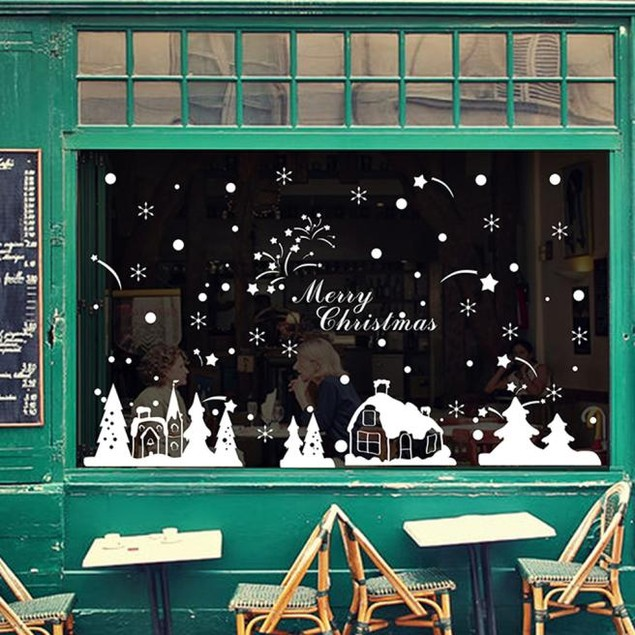 Christmas Wall Stickers Christmas Snowflakes Town