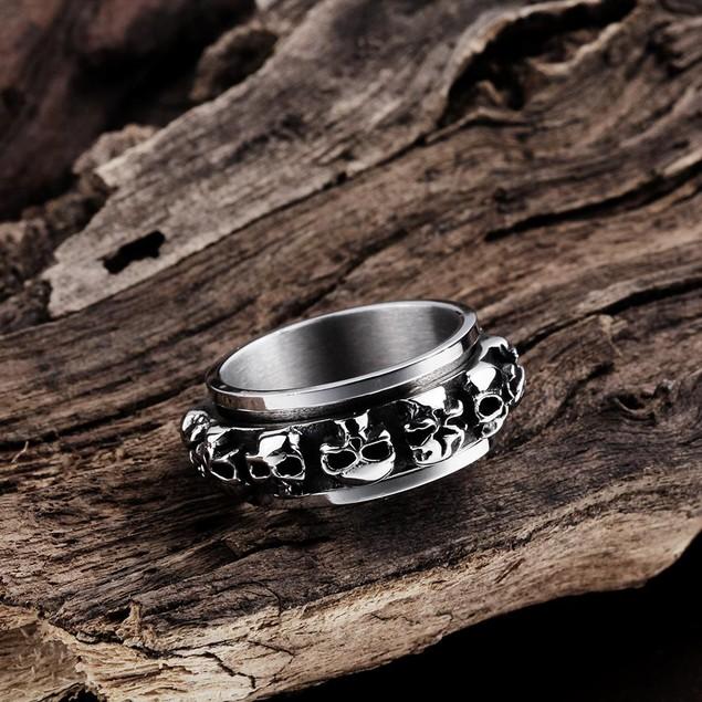 Round of Skulls Stainless Steel Ring