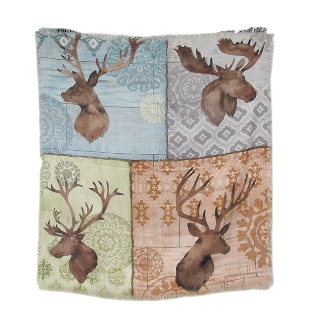 Woodland Moose And Deer Head Throw Blanket Throw Blankets