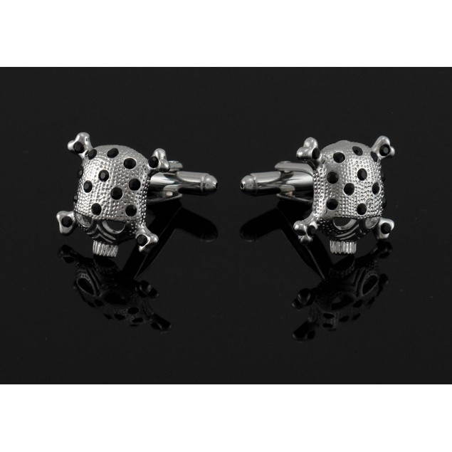 Black Rhinestone Skull & Crossbones Cufflinks Cuff Mens Cuff Links