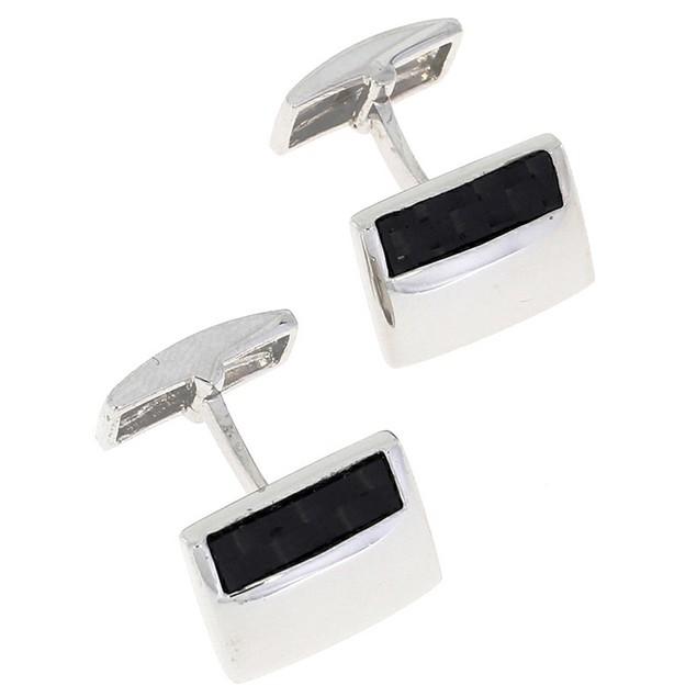 Black Glass Designed Sterling Silver Cufflinks