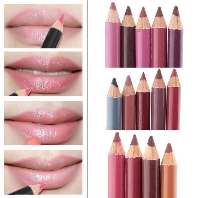12 Colors 15CM Women's Professional Waterproof Lip Liner Pencil