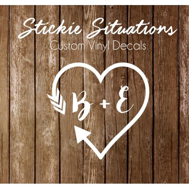 Couples Initials Arrow Vinyl Decal