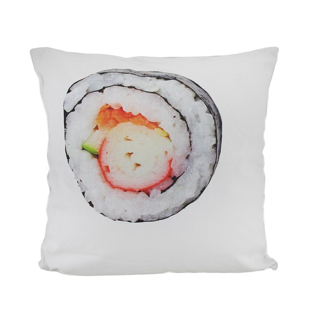 18 In. Sushi Roll And Crab Decorative Throw Pillow Throw Pillows