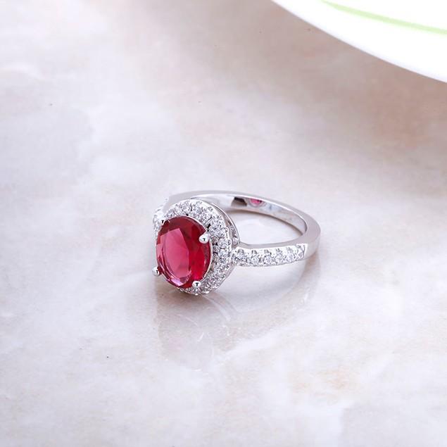 Genuine Ruby Crystal Ladies Ring