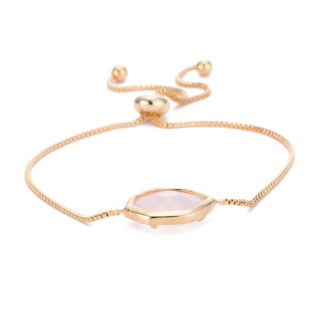 Gold Plated Hectagon Shaped Coral Gem Bracelet