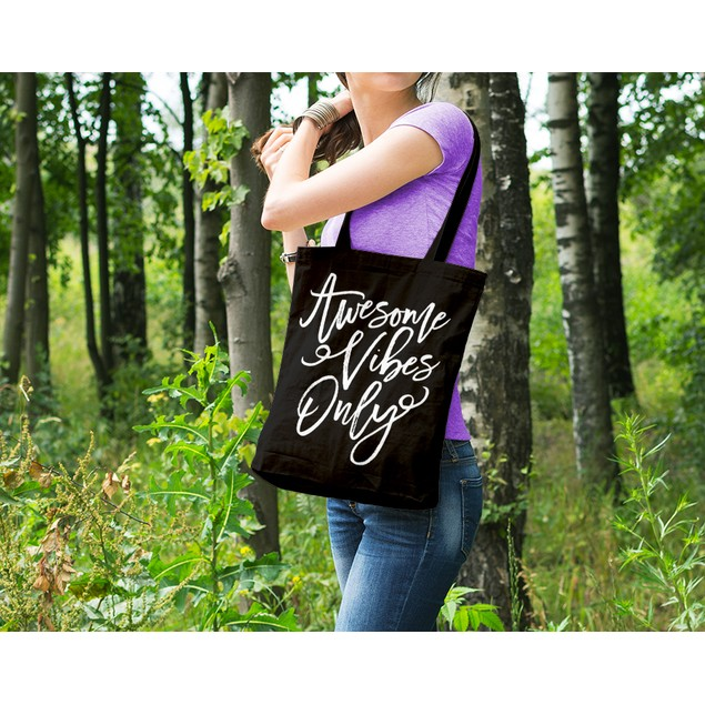 Awesome Vibes Only Black Tote Bag