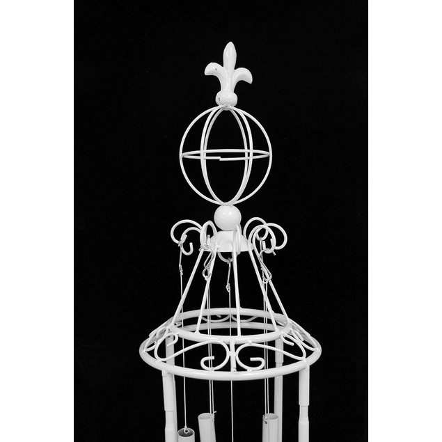 Free Standing White Metal Windchimes 47 Inches Wind Chimes