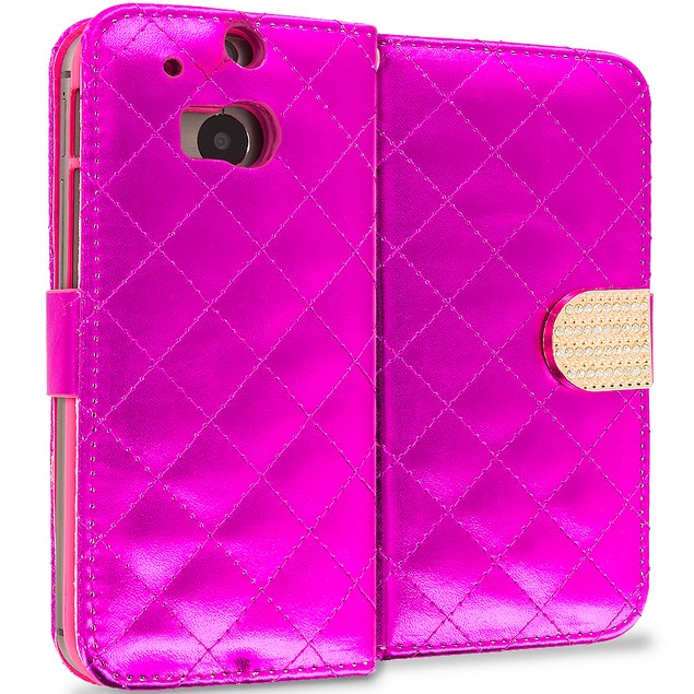 HTC One M8 Luxury Wallet Diamond Case Cover With Slots