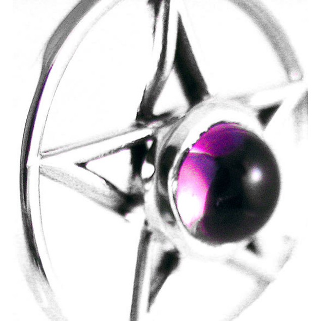 Sterling Silver Pentacle Pendant Purple Stone Womens Pendants