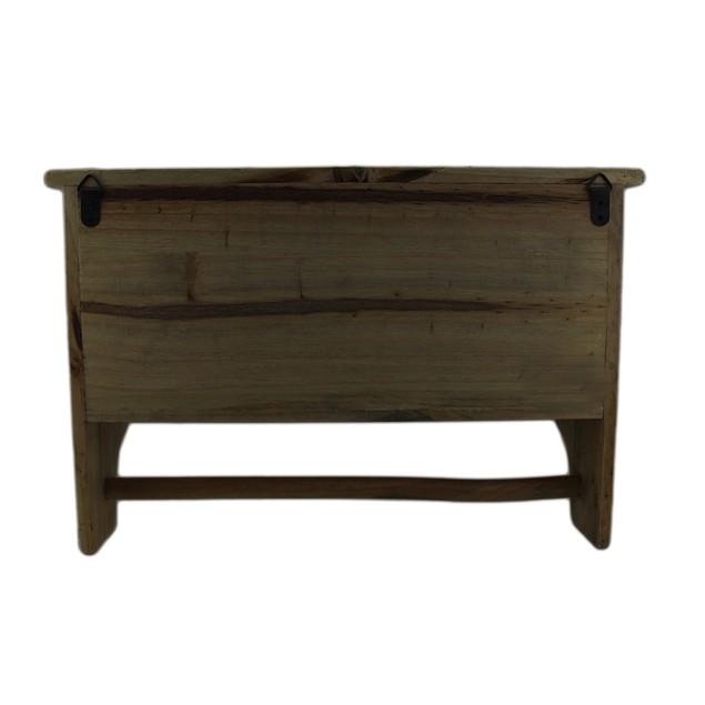 2 Door Wall Mounted Wooden Storage Cabinet W/Towel Hanging Shelves