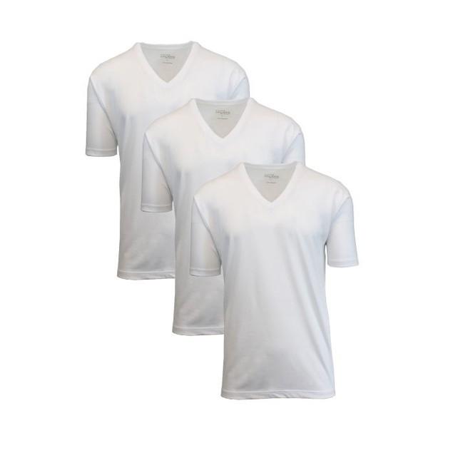 3-Pack Mens 100% Egyptian Cotton Tagless V-Neck T- Shirts (S-2X)