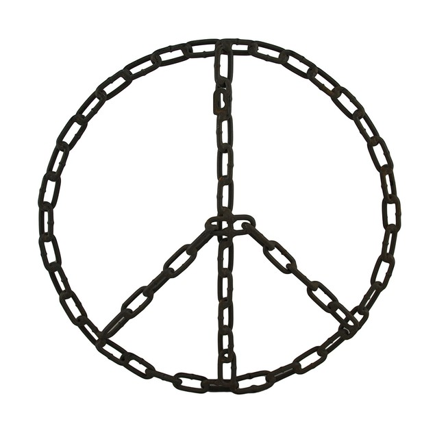 Industrial Chain Link Peace Sign Wall Hanging Wall Sculptures