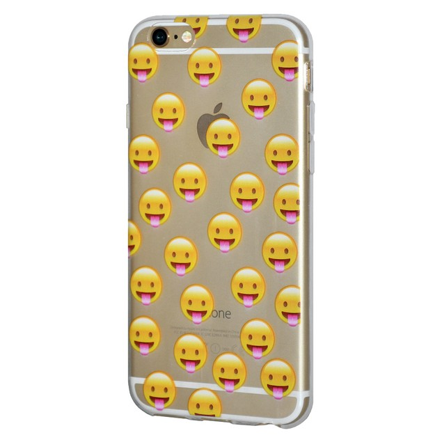 Soft Gel Premium Graphic Emoji TPU Skin Case for iPhone 7 - Tongue Out