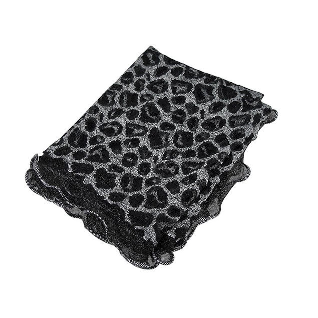 Sheer Black And Silver Leopard Pattern Burn Out Womens Fashion Scarves