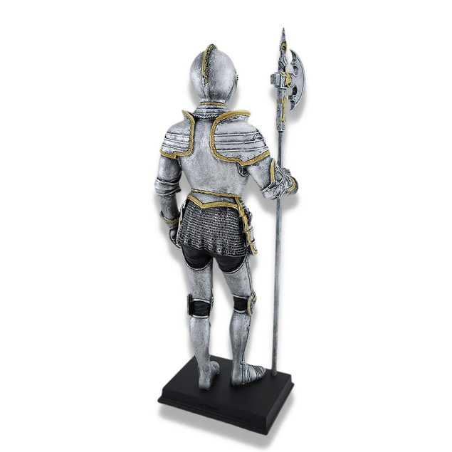 Medieval Knight Full Armor With Poleaxe Statue Statues
