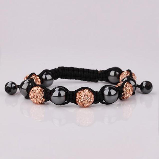 Disco Ball Strap Bracelet & Crystal Beads -Light Orange Citrine