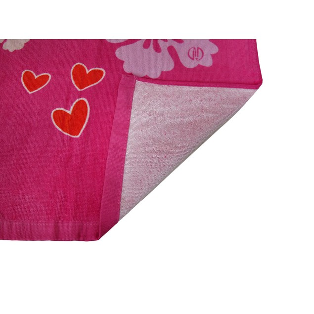Bright Pink Smiley Love Hibiscus Flowers Beach Beach Towels