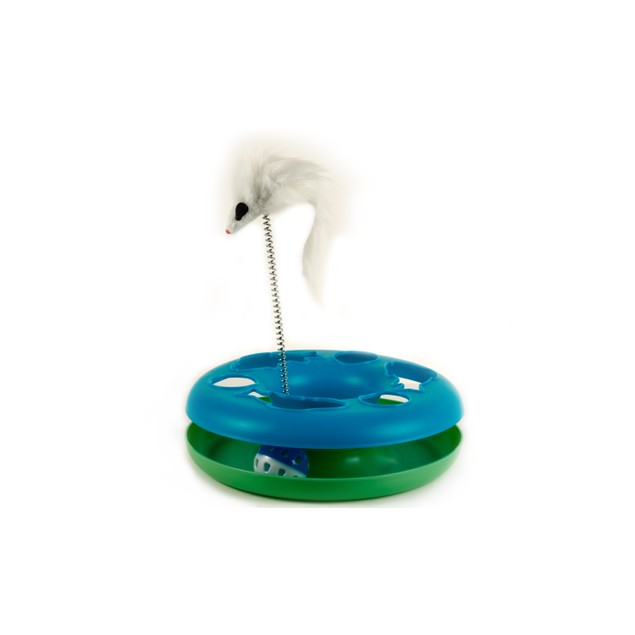 Mouse and Ball Cat Toy Sturdy Base with a Plush Mouse and Rolling Ball