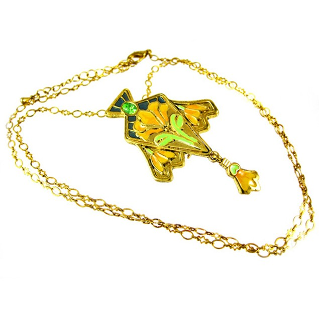 Goldtone Art Nouveau Lily Flower Pendant And Womens Pendant Necklaces
