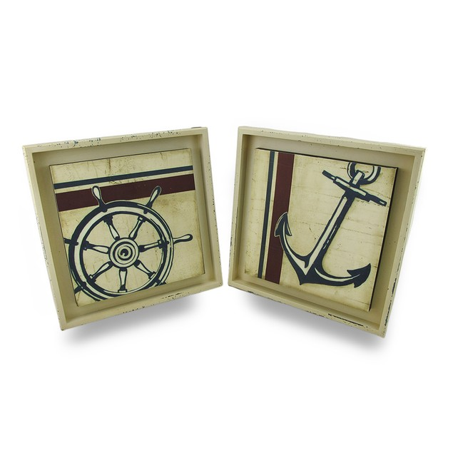 Distressed Finish Anchors Away Nautical Wall Wall Sculptures