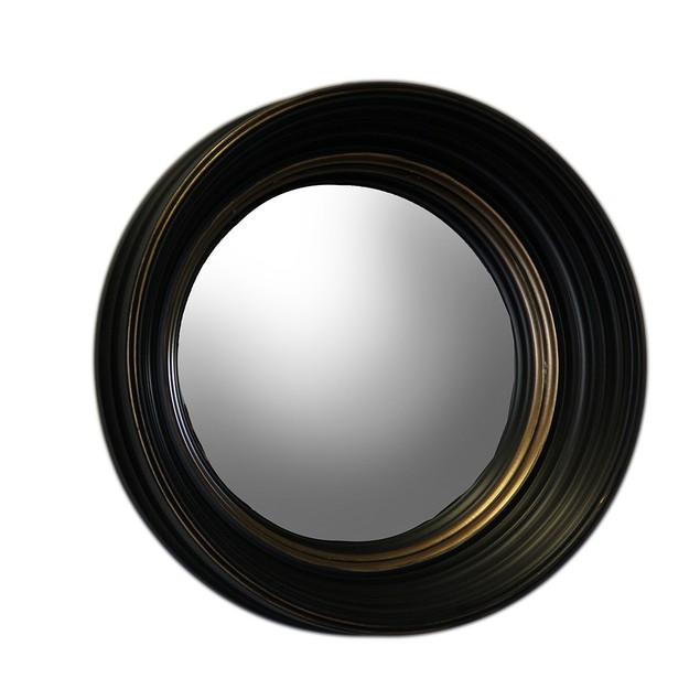 Set Of 3 Black And Gold Framed Convex Fish Eye Wall Mounted Mirrors