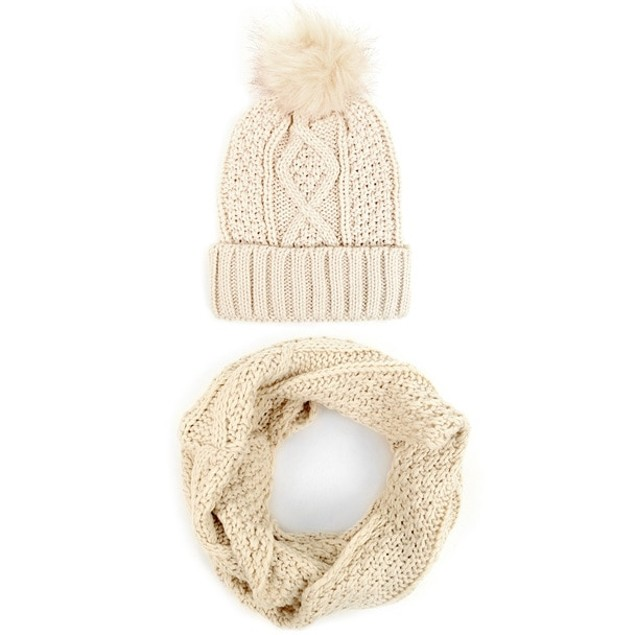 Ladies Knit Hat & Infinity Scarf Winter Set