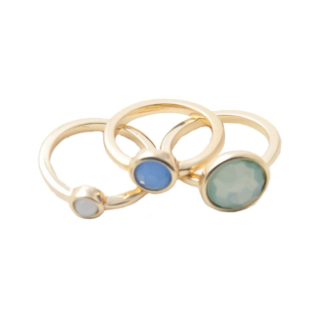 Gold Tone & Stone Stacked Ring Set