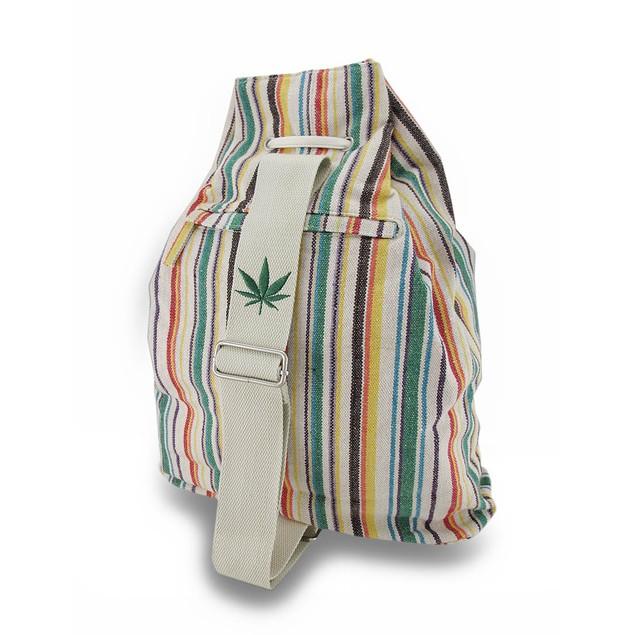 Striped Canvas Drawstring Sling Bag W/Embroidered Womens Shoulder Handbags