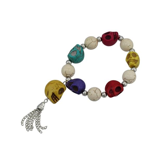 Multicolor 3D Skull Bead Stretch Bracelet Chrome Womens Stretch Bracelets