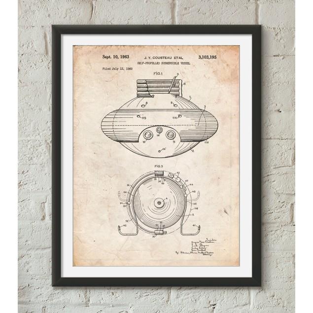 Jacques Cousteau Submersible Vessel Patent Poster