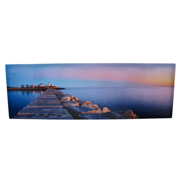 Rocky Shore Sunset And Lighthouse Printed Canvas Prints