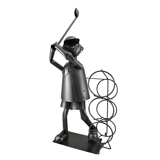 Tee Time Sculptured Steel Golfer At The Range 3 Wine Bottle Holders