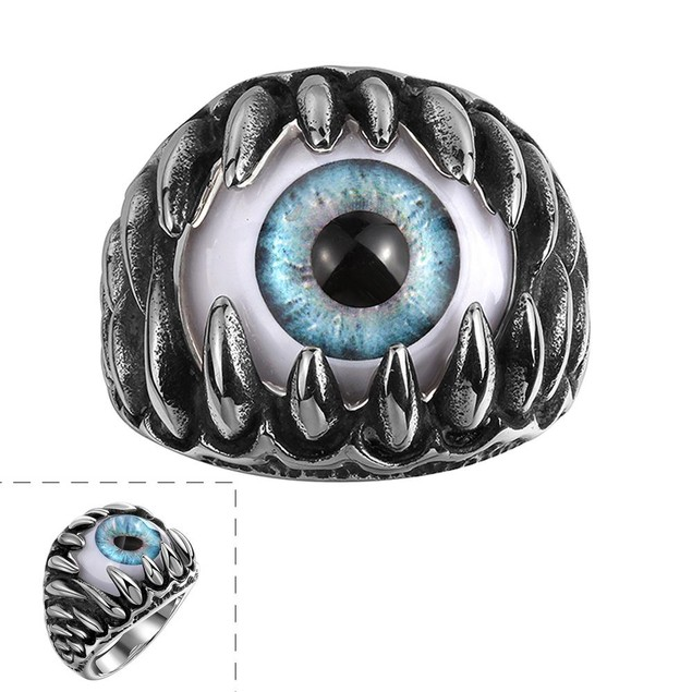 Singular Eyeball Stainless Steel Ring