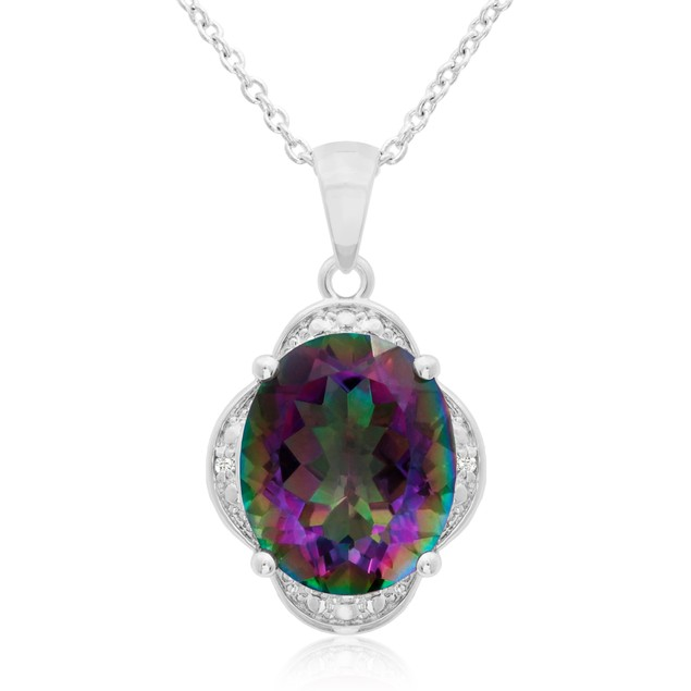 4 3/4 Ct Mystic Topaz And Diamond Necklace