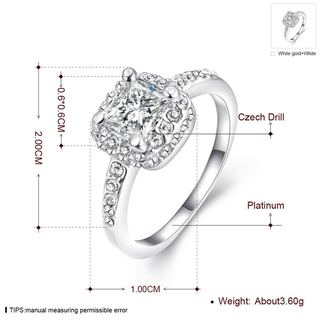 Micro-Insert Ring White Gold Plated