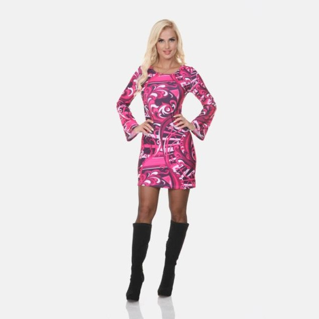 White Mark Guilana Long Sleeve Raspberry Print Dress