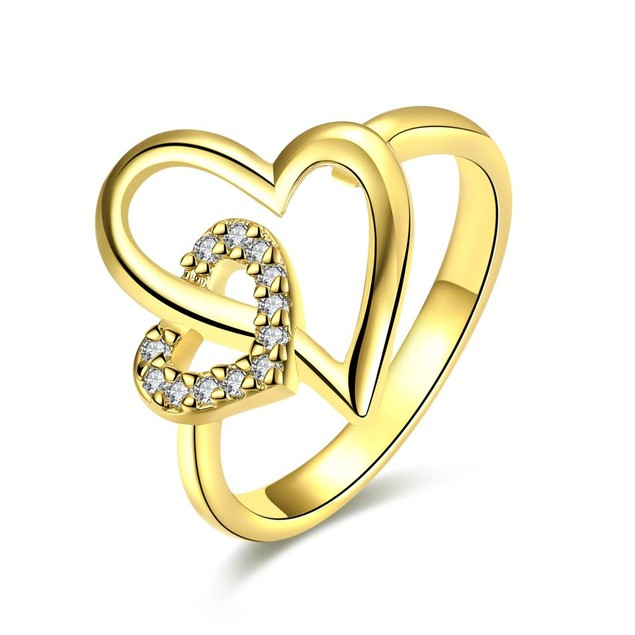 Gold Plated Hollow Double Hearts Ring