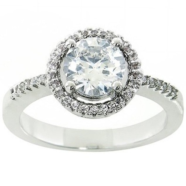 White Gold Plated Cubic Zirconia Halo Rings - 4 Styles