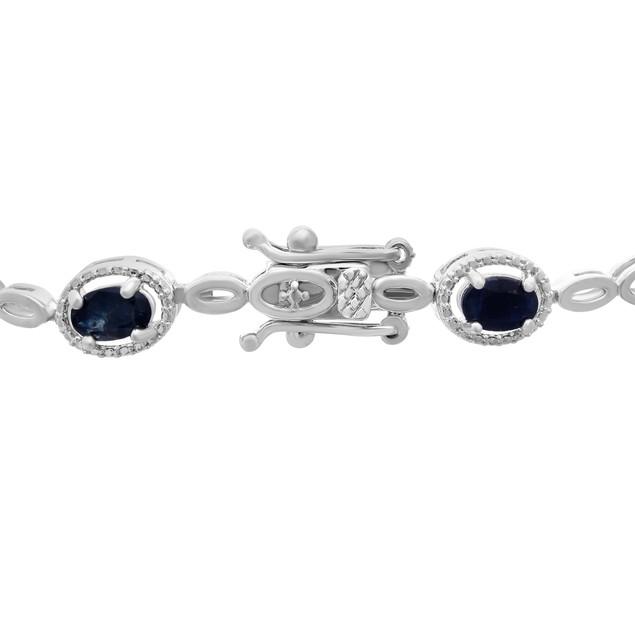 4.50cttw Oval Sapphire and Halo Diamond Bracelet