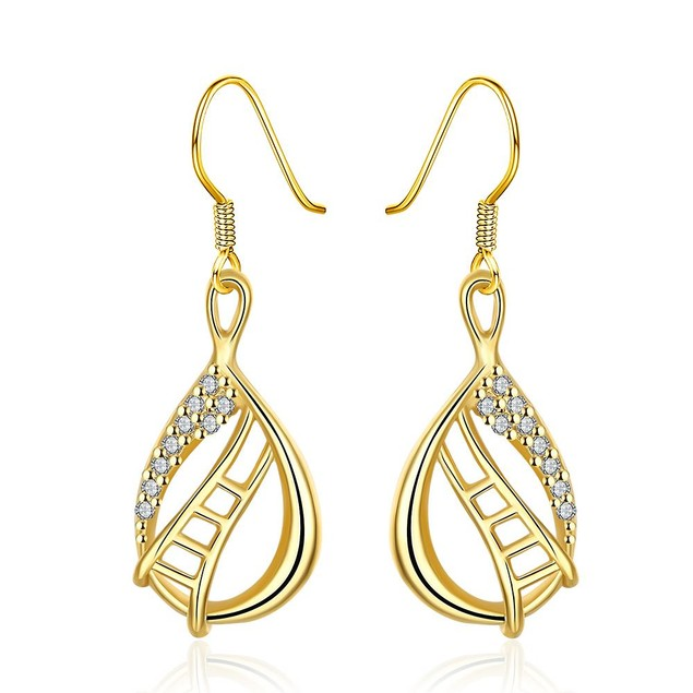 Gold Plated Stairway to Heaven Drop Down Earrings