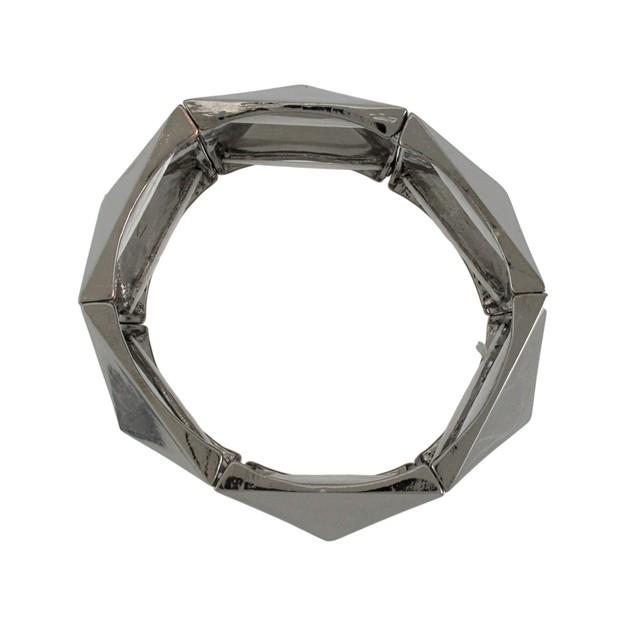 Gunmetal Finish Pyramid Stud Link Stretch Bracelet Womens Stretch Bracelets
