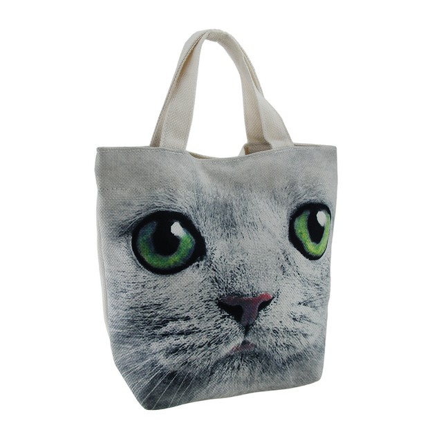 Up Close And Personal Green Eyed Cat Face Lined Womens Tote Bags