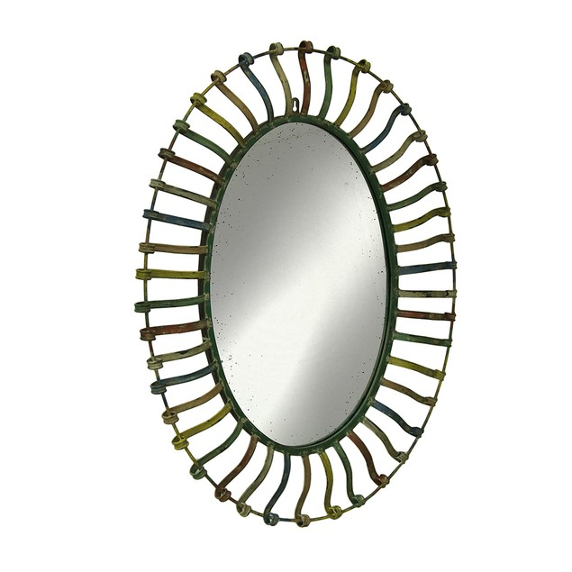 Rainbow Stripe Open Frame Distressed Finish Oval Wall Mounted Mirrors