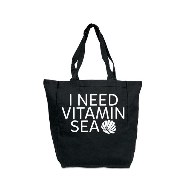 I Need Vitamin Sea Black Tote Bag