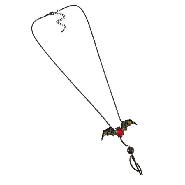 Gunmetal Gothic Rhinestone Vampire Bat Necklace Chain Necklaces