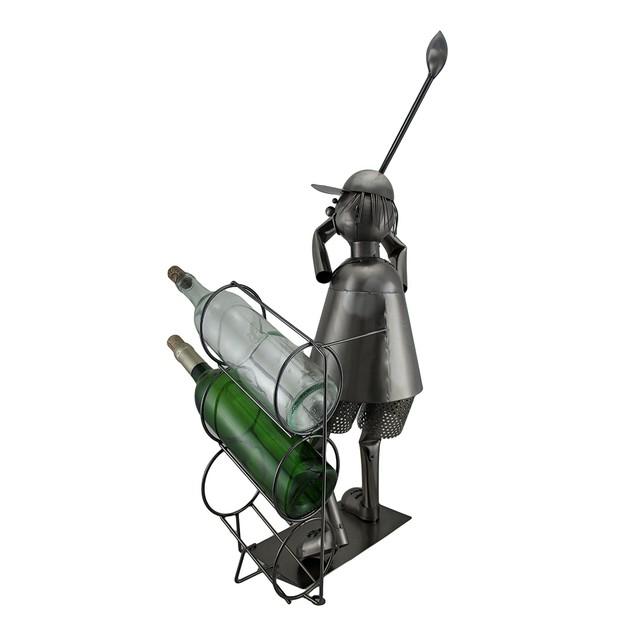 Tee Time Sculptured Steel Golfer At The Range 3 Wine Bottle Holders