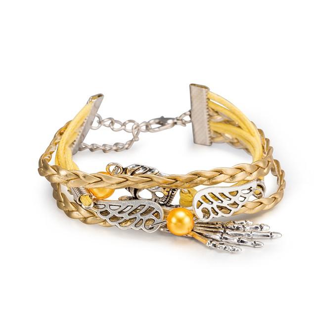 Gold & Yellow Filligree Emblem Bracelet